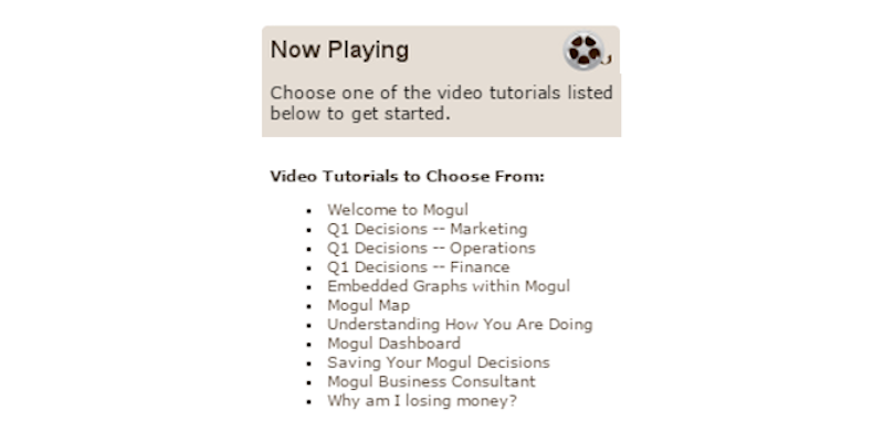 There is a series of video tutorials that guide players through various facets of the simulation  These tutorials speed up the players comprehension of the